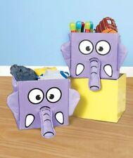 Sets of 2 Whimsical 3D Storage Bins Frog Elephant Toys Organizer