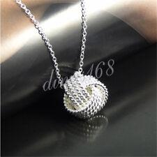 925 Sterling Silver Dazzling Korean Style Multi-line Mesh Knot Pendant H32