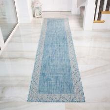 Long Hall Runner Bordered Aqua Turquoise Blue Bordered Flatweave Large Small Rug