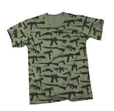 "T-Shirt - Multi Print ""Guns"" - Olive Drab"