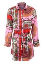 Ladies Satin Feel Long Sleeve Paisley Tie Waist Long Oversized Blouse Shirt Top