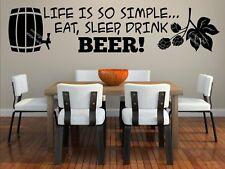 La vita è così semplice... mangiare, dormire, bere birra! GRANDE Wall Sticker Decal Grande Regalo