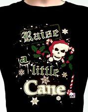 Raise A Little Cane T-Shirt, Goth Christmas - Candy Cane & Santa Skull, Sm - 5X