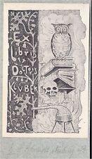 EX LIBRIS BOOKPLATE SCHMIDT NEUBURG HIBOU CHOUETTE EULE OWL