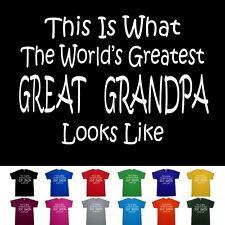 Worlds Greatest GREAT GRANDPA Fathers Day Papa Birthday Anniversary Gift T Shirt