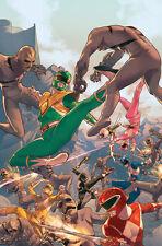 Power Rangers Superhero Ninjas Fighting Putties Animated Artwork Lithograph