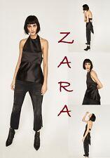 ZARA Satin Effect Open Back Top Asym Hem New (RT$75) Dressy Black Halter Sz. S M