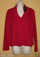 Rafaella Studio women ruby red pullover sweater ribbed collar top PXL stretch