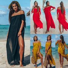 Womens Summer Backless Party Dress Ladies Off Shoulder Long Maxi Sun Dress 6-16