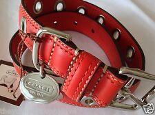 NEW COACH shiny GERANIUM RED NICKEL GROMMET SMALL  DOG COLLAR S
