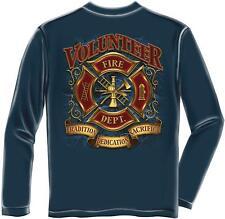 Erazor Bits Long Sleeve T-Shirt - Fire Fighter - Volunteer  FireFighter - Navy
