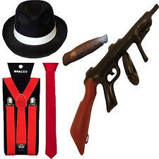 1920s AL CAPONE LOT PIMP RED GANGSTER HAT TIE BRACES TOMMY GUN CIGAR FANCY DRESS