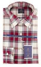 New $600 Luigi Borrelli Burgundy Red Plaid Shirt - (EV0657340STEFANO)