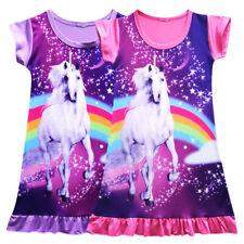 Einhorn Unicorn Kinder Mädchen Kurzarm Sommer Tunika Kleid Longshirt Gr. 104-134