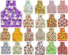 Women Bib Print Kitchen Apron W Pocket Cooking Baking Chefs Floral 100% Cotton