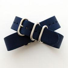 Navy Blue ZULU Watch Strap: 3 Ring: Matt Steel Buckle: 20mm or 22mm (FL124)