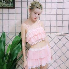 Japanese Sweet Kawaii Bikini Lolita Lady Falbala Swimsuit Swimwear Pink Cute Set