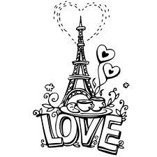 Sticker Paris Tour Eiffel de l'Amour Dessin, XXL, 40x25 cm à 90x56 cm(AMOUR010)