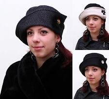 New Women Ladies Elegant Vintage Style 100% Wool Cloche Button Topfhut Hat