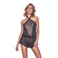 Body combishort noir transparent dentelle et mesh dos nu sexy glamour original