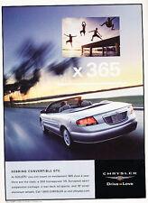 2002 Chrysler Sebring Convertible GTC - Classic Vintage Advertisement Ad H03
