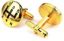QUALITY GOLD GEAR BOX STICK CUFFLINKS GEARS DRESS LEVER SHIFT KNOB CAR MANUAL UK
