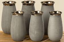 1x Vase Sophia Grau Bronze Steingut H 27 Cm Oder 31 Struktur Per Zufall