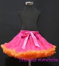 Xmas Hot Pink Orange FULL Pettiskirt Skirt Petti Dance Tutu Dress Girl 1-8Year