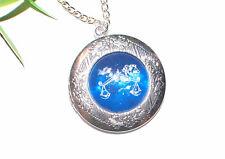 HOROSKOP Medaillon Halskette +++ Sternzeichen Kette silber Foto Anhänger öffnen