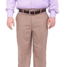 Black Diamond Classic Fit Beige Textured Flat Front Wool Dress Pants