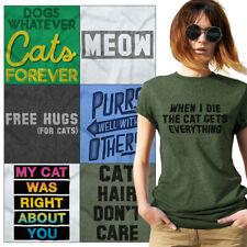 Crazy Kitty Lady Tees Shirt Womens T-Shirt For Ladies Cute Tees Shirts Gift T