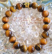Gemstone Natural Crystal Tiger's Eye Mantra Bead Om Shanti Buddhism Bracelet