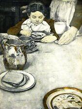 Sarah Stillwell BOY EATING BREAKFAST 1904 Food Art  Matted