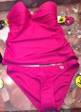 NWT $150 Body Glove Smoothies Twist Bandeau Bandini Tankini Pink Swimsuit Set XS