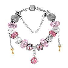 NEW MC Silver Pink Flower Gold Key Lock Murano Beads Charm European Bracelet