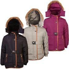 Ragazze Bambini cappotto invernale trapuntato staccare cappuccio giacca imbottita interno in pelliccia zip 3-14 Y