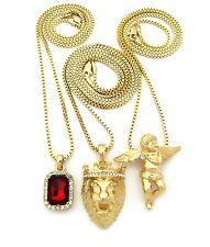 Set of 3 Angel Lion King Ruby Gem Onyx Saphire Emerald Pendant Chain Necklace