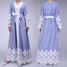 UK Muslim Dress Women Abaya Jilbab Kaftan Long Sleeve Lace Splicing Maxi Dresses