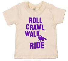 "Horse Riding Baby T-Shirt ""Roll Crawl Walk Ride"" Boy Girl Pony Clothes"