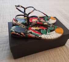 NEW IN BOX WOMEN'S 6.5 7 7.5 8 8.5 9 J CREW T-STRAP SANDALS IN POSTCARD PRINT