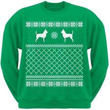 Chihuahua Green Adult Ugly Christmas Sweater Crew Neck Sweatshirt