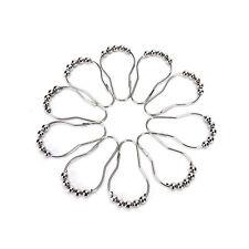 New 12Pcs Chrome Plated Ball Bead Easy Glide Shower Metal Curtain Rings Hooks OZ
