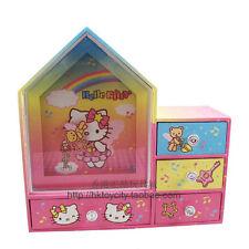 JAPAN HELLO KITTY HOUSE SHAPE CLOCKWORK MUSIC JEWELRY DRAWER BOX 531874