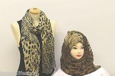 Onorevoli BELLE animale leopardo Stampa Estate l'hijab SCIARPA STOLA collo sciallato Wrap