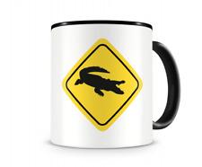Krokodil Warnschild Tasse Kaffeetasse Teetasse Kaffeepott Kaffeebecher Becher