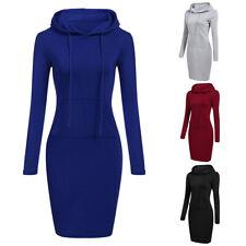 Women Long Sleeve Casual Sweatshirt Hooded Pullover Jumper Tops Mini Dress