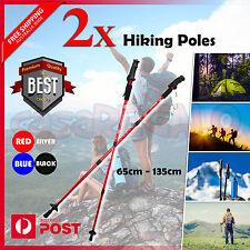 2x Hiking Trekking Poles Walking Stick Anti Shock Adjustable Camping Cane