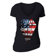 American Flag distressed Diamond 4th of July T-shirt Clothing USA Shirt Black