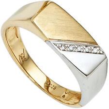 Anello da uomo oro 585 oro giallo oro bianco bicolore 5 DIAMANTI ANELLO UOMO