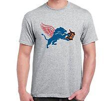 New Detroit Michigan Sport Fan Combined Logo Mashup Mens Grey T-SHIRT